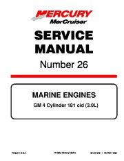 Mercury MerCruiser GM 4 Cylinder 181 cid 3.0L Marine Engines Service Manual Number 26 page 1