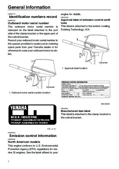 2005 yamaha outboard 8d boat motor owners manual for Boat motor repair manuals