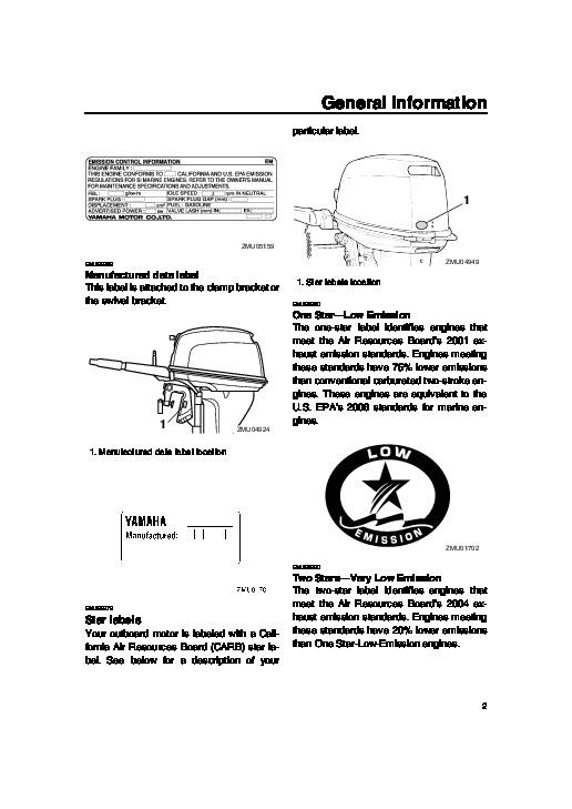 2006 yamaha outboard t f15 boat motor owners manual for Boat motor repair manuals
