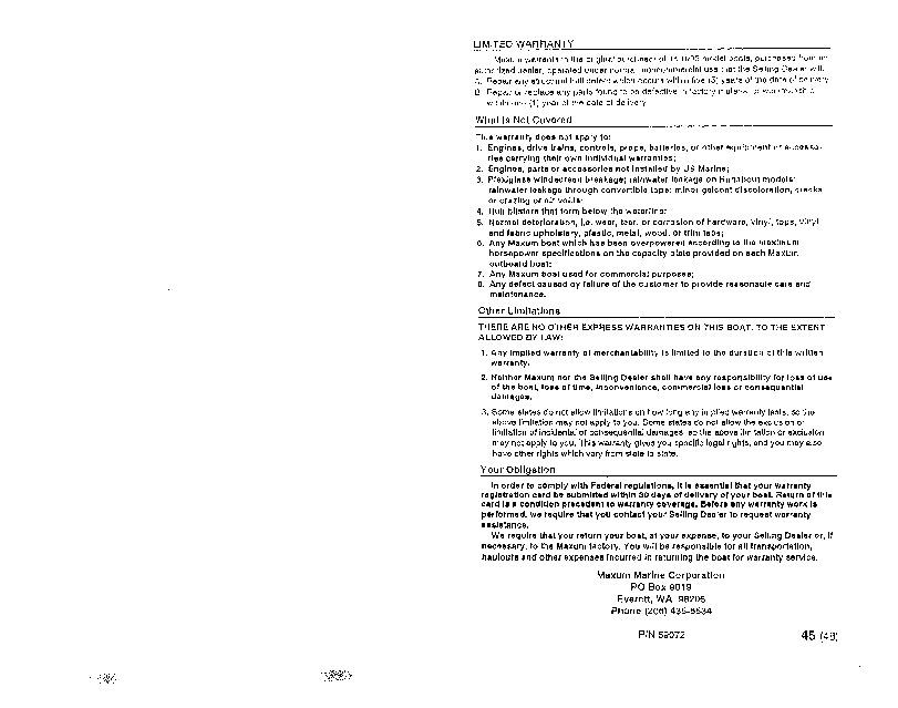 maxum stern drive runabout boat owners manual 1995 rh marine filemanual com Operators Manual User Manual PDF