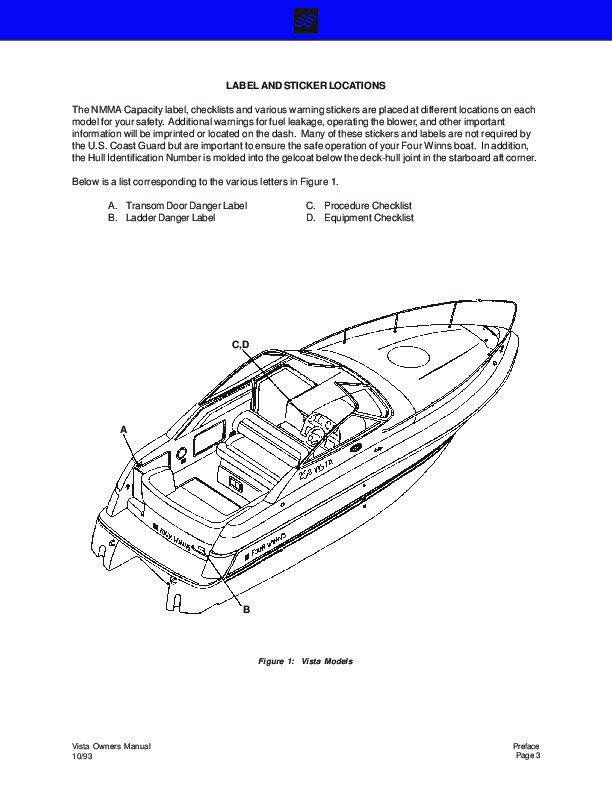 1994-2000 Four Winns Vista 238 258 278 Boat Service Owners Manual