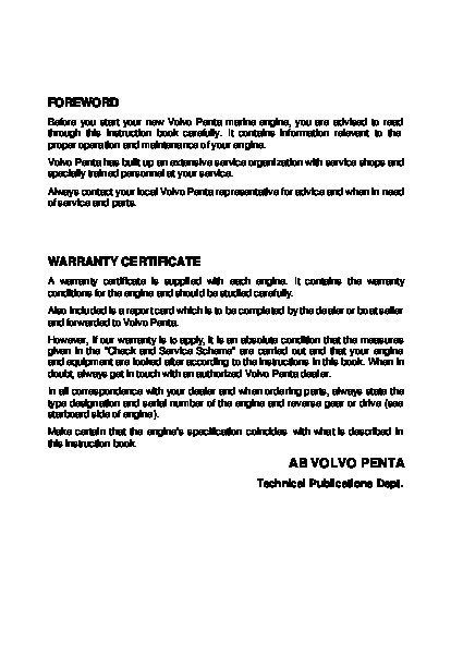 volvo penta md7a 110s owners manual - 3 of 41