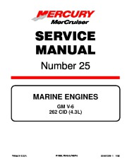 Mercury-MerCruiser GM V6 262 CID 4.3L Marine Engines Service Manual Number 25 Sections 1-3 page 1