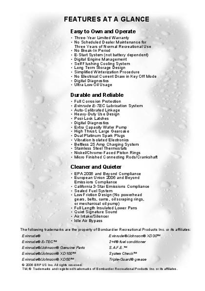 2007 Evinrude 40 50 60 hp E-TEC PL Outboard Motor Owners Manual
