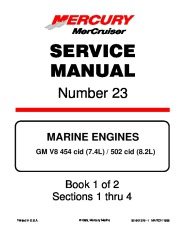 Mercury MerCruiser GM V8 GM V8 454 CID 7.4L and 502 cid 8.2L Marine Engines Service Manual Number 23 page 1
