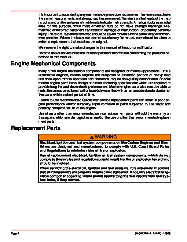 mercury mercruiser gm v8 gm v8 454 cid 7 4l and 502 cid 8 2l marine rh marine filemanual com 454 Mercruiser Engine 454 Mercruiser Specs