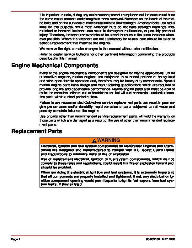 mercury mercruiser sterndrive service manual